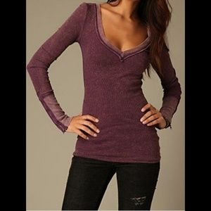 Free People thermal with zipper cuff (L)